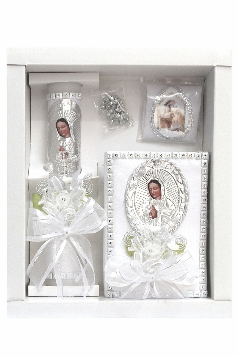 Available in English or Spanish English Lito First Communion Candle Set for Boys White Candle Set Kit for Holy 1st Communion with Figurine