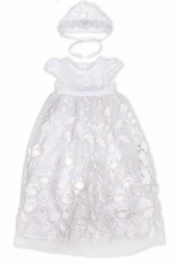 White Biscotti DCHH304 Baby Christening Gown