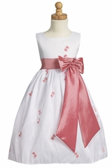 White Embroidered Butterfly Taffeta Dress w/ Bow Accent