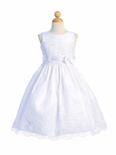 White Embroidered Organza Communion Dress w/ Ribbon
