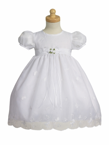 White Embroidered Organza Dress w/ Taffeta Trims and Waistband