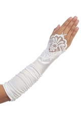 White Long Ruched Satin Adult Glovettes w/ Lace