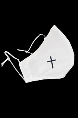 White Mask with Black Embroidered Cross Faced Shaped Mask