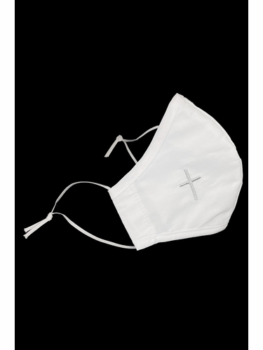 White Mask with Silver Embroidered Cross Faced Shaped Mask