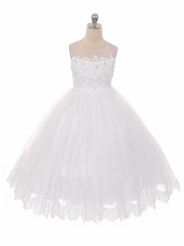 White Mesh & Lace Bodice w/ Tulle Lace Skirt