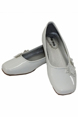 White Patent Flower Ballerina Girls (Youth) Shoe