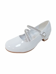 "White Patent 1"" Heel Dress Shoe with Double Rhinestone Straps"