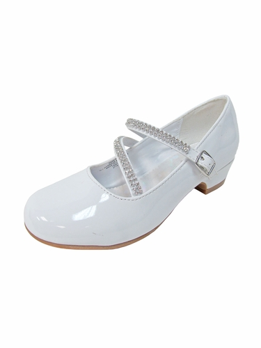 White Patent Low Heel Dress Shoe with Double Rhinestone Straps