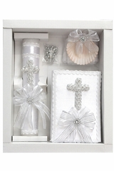 White Pearl Cross Baptism Candle Set w/ Spanish New Testament