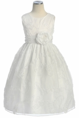 White Ribbon Embroidered Organza First Communion Dress