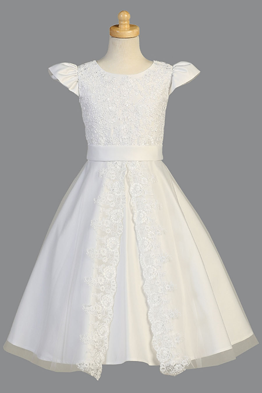 07d138f6eb1 Click to Enlarge Click to Enlarge Click to Enlarge. White Satin Communion  Dress w  Corded Floral Lace Applique