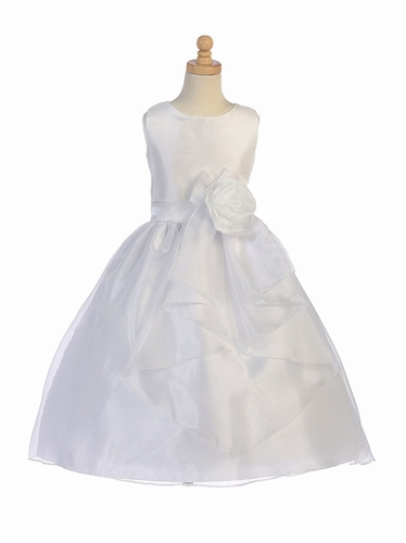 White Shantung w/ Crystal Organza Dress