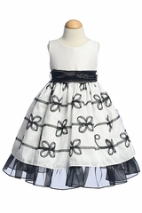 White Solid Bodice w/ Ribboned Taffeta Skirt