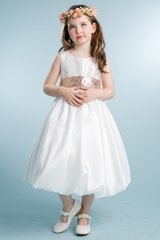 White Taffeta Bubble Dress w/ Sequin Sash