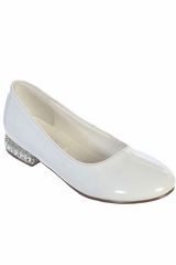 White Tip Top S109 Girl's Mary Jane w/ Jeweled Leatherette Heels