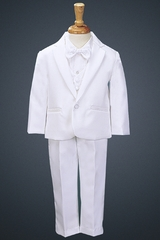 White Tuxedo w/ Any Color Vest & Clip-On Bowtie