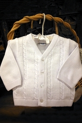 Will'beth 872091 Boy's White Knit Sweater
