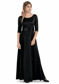 Pageant Dress<br>3/4 Sleeve Tie Back Knit Formal Gown