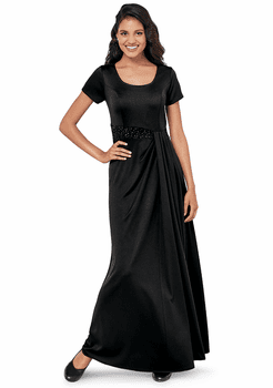 Ostinato<br>Short Sleeve Long Dress with Sequins