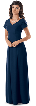 Crepe Georgia Dress<br>Tulip Sleeve V-neck Orchestra Gown