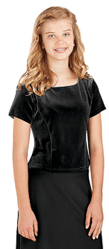 Youth Luisa Top<br>Short Sleeve Stretch Velvet Blouse