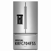 KitchenAid 23.8 Cu. Ft. Counter-Depth French Door Refrigerator with Platinum Interior, Stainless Steel 2KRFC704FSS