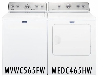 Maytag 4. 2 cu ft Washer in White with Deep Water Wash and PowerWash MVWC565FW and 7.0 cu ft Dryer with AutoDry MEDC465HW