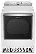 Maytag 8.8 cu. ft. Capacity Dryer with 11 Dry Cycles, 5 Temperature Settings, Energy Star Certified, IntelliDry� Sensor, Sanitize Cycle in White MEDB855DW