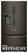 Whirlpool 24 Cu. Ft. Counter DepthFrench Door Free Standing Refrigerator with Freeze Shield and LED Lighting - Black Stainless Steel 2WRF954CIHV