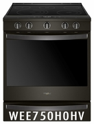 Whirlpool Smart Slide-In Range with Frozen Bake Technology and True Convection Cooking and Black Stainless Steel WEE750H0HV