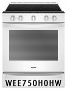 Whirlpool Smart Slide-In Range with Frozen Bake Technology and True Convection Cooking WEE750H0HW White