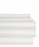 Woven Stripe Bed Sheets Found in Many Hilton- Standard/ Queen Pillowcase Set- White