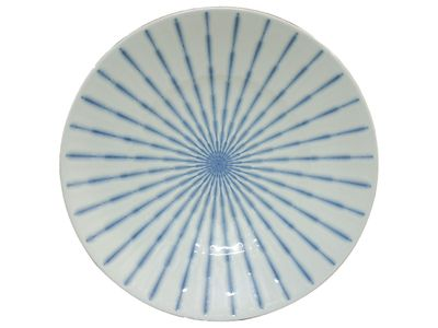 11-1/2 Inch Blue and White Starburst Raised Edge Japanese Serving Plate