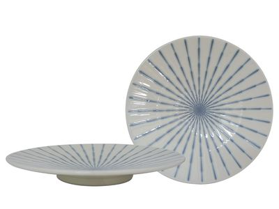 11-7/8 Inch Blue and White Starburst Japanese Plate Set of Two