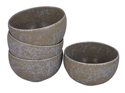 4-1/4 Inch Arctic Ice Small Japanese Ceramic Bowl Set for Four