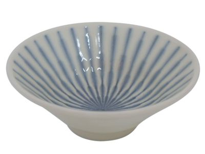 4-1/4 Inch Blue and White Starburst Japanese Sauce Bowl