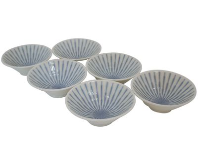 4-1/4 Inch Blue and White Starburst Japanese Sauce Dish Set of Six