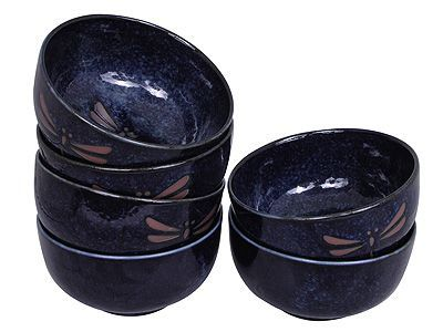 5 Inch Blue Dragonfly Japanese Ceramic Bowl Set of Six