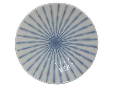 6-1/4 Inch Blue and White Starburst Japanese Appetizer Plate
