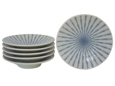 6-1/4 Inch Blue and White Starburst Japanese Plate Set for Six