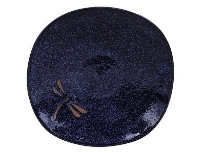 6-1/4 Inch Blue Dragonfly Japanese Ceramic Plate
