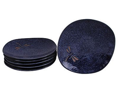 6-1/4 Inch Blue Dragonfly Japanese Ceramic Plate Set for Six