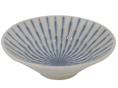 6-3/8 Inch Blue and White Starburst Japanese Bowl