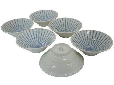 6-3/8 Inch Blue and White Starburst Serving Bowl Set of Six