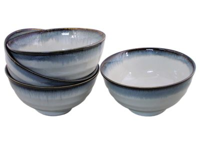 6-5/8 Inch Glacier Ice Japanese Large Donburi Bowl Set for Four