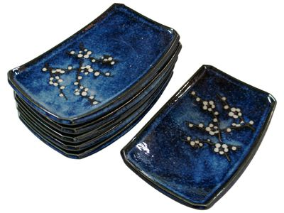 7-1/2 Inch Dark Blue Cherry Blossom Japanese Sushi Plate Set for Six
