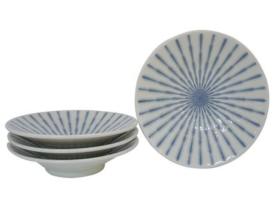 7-3/4 Inch Blue and White Starburst Japanese Plate Set for Four