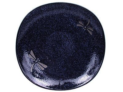 7-3/4 Inch Blue Dragonfly Japanese Ceramic Plate