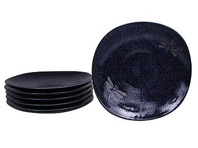 7-3/4 Inch Blue Dragonfly Japanese Ceramic Plate Set of Six