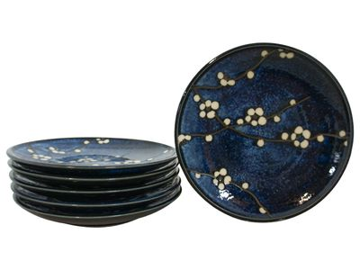 7-3/4 Inch Dark Blue Cherry Blossom Japanese Appetizer Plate Set for Six